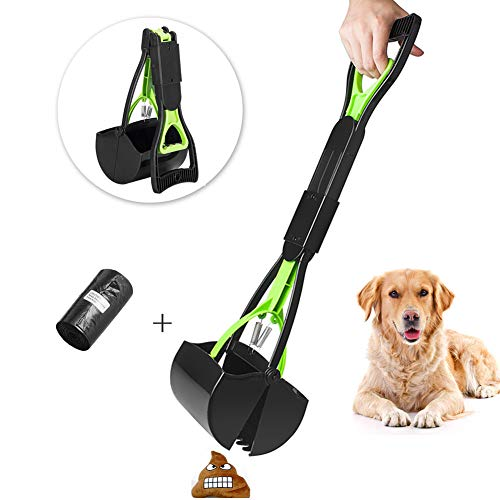 SCPET Pet Pooper Scooper for Dogs and Cats with Long Handle Foldable Dog Poop Waste Pick Up Rake, Jaw Claw Bin for Grass and Gravel (Green)