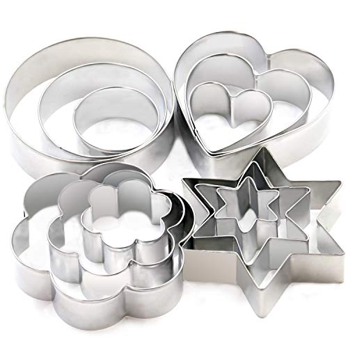 Cookie Cutters Set - Cookie Cutters Mini Geometric Shapes Cookie Cutters, Vegetable Shape Cutters for Kitchen, Baking, Halloween & Christmas,12 Pcs (white)