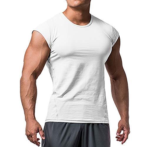 Hombres Corte Muscular Camiseta Manga Corta para Culturismo Gimnasio Rutina de Ejercicio Camisetas Algodón