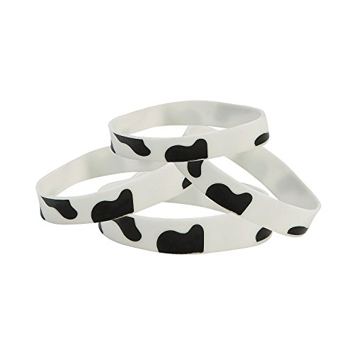Rubber Cow Print Bracelets - Set of 12 - Party Favors and Giveaways
