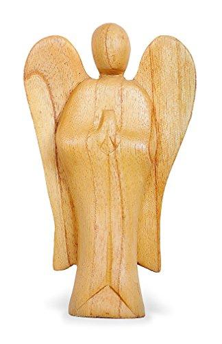 TEMPELWELT Deko Figur Schutzengel Erzengel stehend aus Hibiskus Holz, Höhe 20 cm groß hell braun, Kunsthandwerk aus Bali Engel Holzengel betend