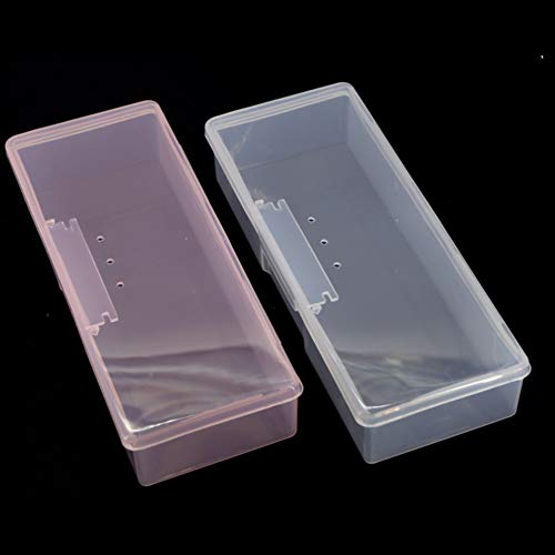 Nail Art Storage Box, Plastic Transparent Nail Supplies Brush Kit Jewelry Container Organizer Case Nail Art Brush Holder Blanc