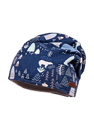 maximo Jungen aus bedrucktem Jersey mit Waldmotiven Mütze, Blau (Dunkelblau-Weiß-Winterwald 68), (Herstellergröße: 51)