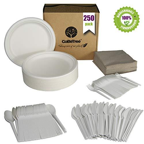 GoBeTree Vajilla Desechable de 250 Piezas para 50 Personas. Paquete vajilla Biodegradable de caña de azúcar. Incluye 50 Platos, 50 cucharas, 50 Tenedores, 50 Cuchillos y 50 servilletas.