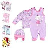 Baby Sweets 3er Baby-Set mit Strampler, Langarm-Shirt & Mütze für Mädchen in Flieder/Baby-Erstausstattung als Strampler-Set im Katzen-Motiv für Neugeborene & Kleinkinder in der Größe: 9 Monate (74)