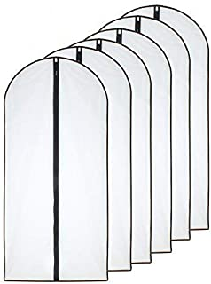 Moth Proof Garment Bags 24'' x 48''( Pack of 6 ) Black Side Breathable Clear Garment Full Zipper Bags for The Winter Coats Jackets Clothes