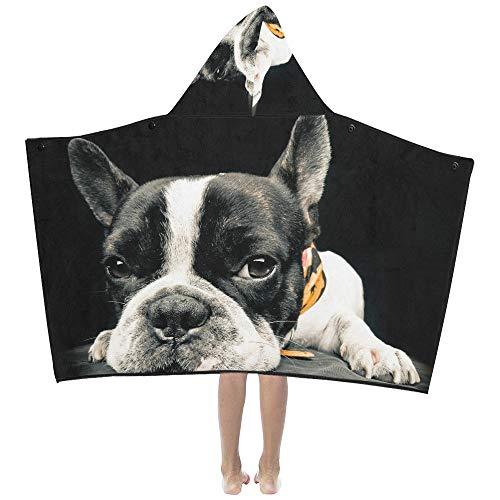 Soft Blanket Throw Close Plane French Bulldog Kids Hooded Blanket Bath Towels Throw Wrap for Toddler Child Girl Boy Home Travel Sleep Bath Towels Kids