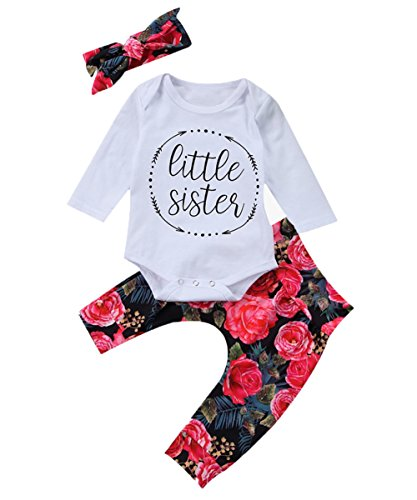 Baby Girls Little Sister Bodysuit Tops Floral Pants Bowknot Headband Outfits Set (6-9 Months, Style 1)