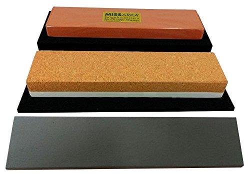 SCHERENKAUF Schärf-Set für Messer / 4L / Kombistein Korund + MissArkaUltra + behandeltes Abziehleder und rutschfeste Schleifstein-Unterlagen