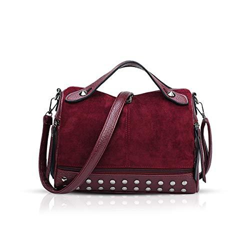 NICOLE & DORIS Handtaschen für Damen Punk Henkeltasche Coole Vintage Handtaschen Schultertaschen Umhängetasche Weinrot