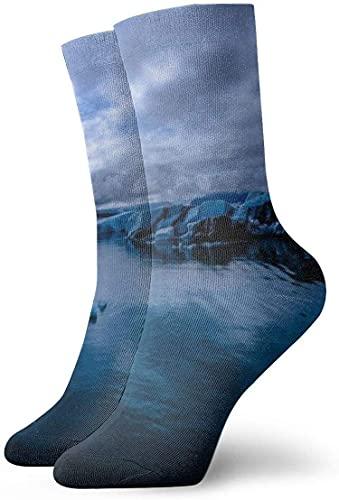 IUBBKI Calcetines unisex Clear Lake Glacier Sea Snow Calcetines de tobillo personalizados Medias atléticas Calcetines casuales 30cm para hombres y mujeres