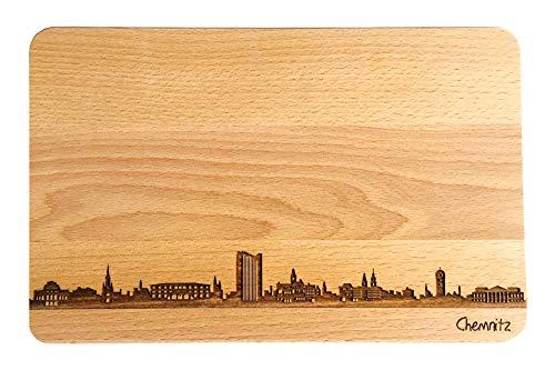 SNEG Brotzeitbrett Chemnitz Skyline | Frühstücksbrettchen aus Buche | Holz Schneidbrett | Geschenk mit Gravur | Frühstücksbrett | Sachsen (Standard (22x14x1cm), 1. ohne persönlicher Gravur)