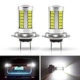 YnGia 2PCS H7 LED Bombillas de luces antiniebla 6500K Blanco, 33SMD Lámpara Luces de circulación diurna Bombillas DRL 12V Reemplazo para camiones de automóviles