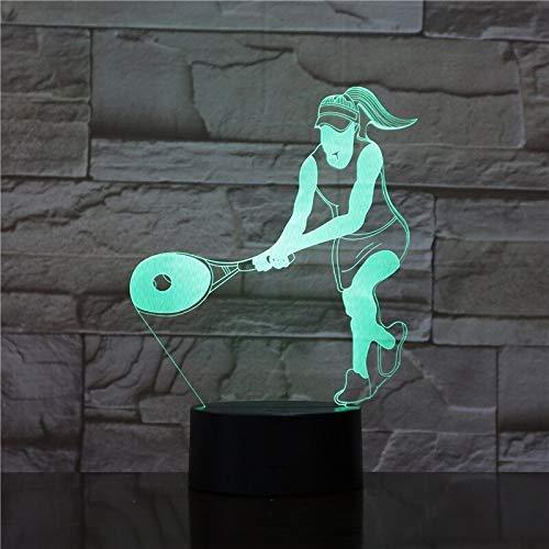 3D illusie Night Light 3D Sport LED Cool Tennisspel voor dames Kleur Changenovel Home Dec Night Table Lamp Amici verjaardagscadeau voor kinderen