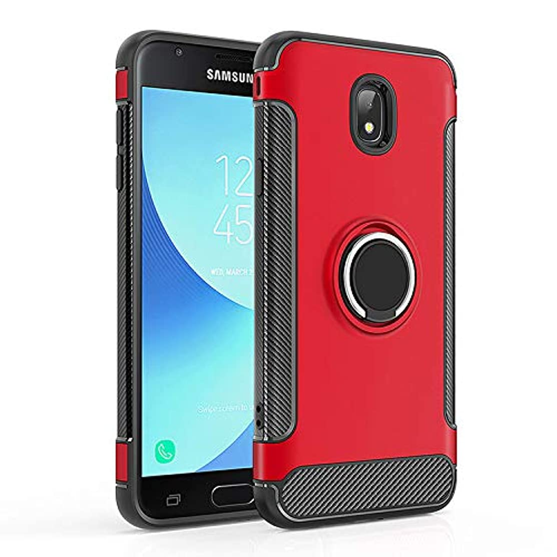 Case for Samsung SM-J737A Galaxy J7 2018 / SM-J737V J7 V 2018 XLTE/Galaxy J7 Aero SM-J737T Galaxy J7 Star/SM-J737P J7 Refine 2018 Case Cover + 360 Degree Rotating Ring Holder Kickstand Red