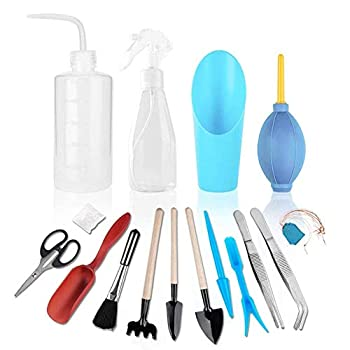 NPLUX 16 Pieces Succulent Tools Transplanting Tools Mini Garden Hand Tools for Miniature Garden Plant Care