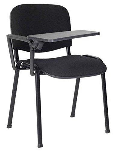 10 Sedie in tessuto con scrittoio ribaltina tavoletta per sala corsi convegni riunioni (Nero)