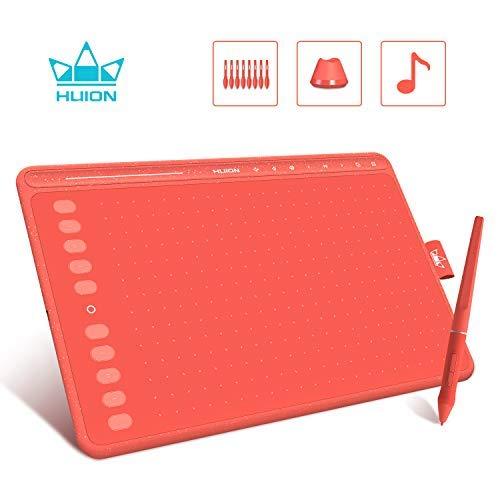 HUION Tableta Gráfica HS611 (Rojo Coral) 10x6 Pulgadas Equipado con Teclas Multimedia y Barra Táctil, 10 Teclas de Prensa Programables, Compatibles con Windows/macOS/Android