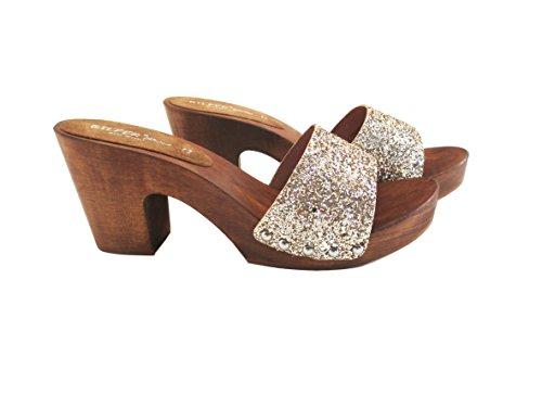 Silfer Shoes Zoccolo Donna - Vero Legno - Tessuto - Vera Pelle Colore Gold-Colore Oro -Susy B (37)