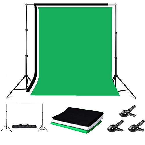 Folong Photo Backdrop Stand,8 x 10ft Video Photography Backdrops Stand and 3 Colors (White Black Green) Photo Backdrop,Adjustable Photo Backdrop Stand Kit Support System with Carry Bag and 3 Clamps