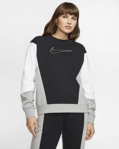Nike Damen W NSW Crew HBR FT CB Long Sleeved T-Shirt, Black/White/dk Grey Heather, S