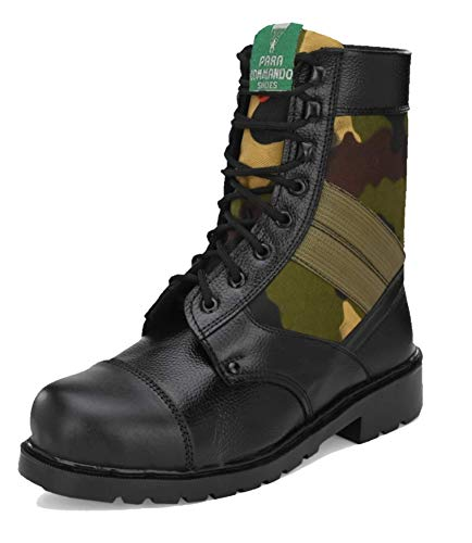 para commando Men Black Genuine Leather Army Military Safety Boot Shoes with Steel Toe