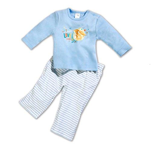 Weißt du eigentlich wie lieb ich dich hab Schlafanzug Kinder Pyjama Nachtwäsche Hase Baby Set Blau (74/80)