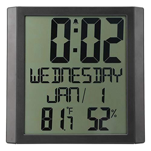 banapoy Reloj de Pared Digital, termómetro de Reloj Despertador Digital LCD con Calendario de Fecha y Monitor de Temperatura y Humedad, para Dormitorio, Oficina, Cocina