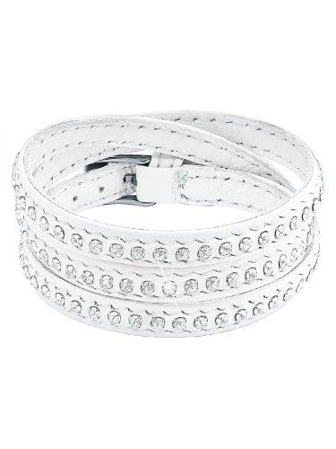 s.Oliver Jewel Damen Armband Edelstahl Leder Swarovski-Kristall 57.5 cm weiß 489546