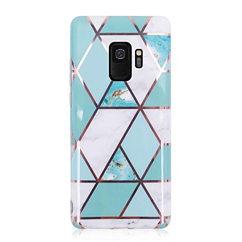 BRAND SET® Funda Samsung Galaxy S9 Plus Plating Costuras Marble Pattern Ultra-Thin Silicone Soft Cover Funda Antideslizante a Prueba de Golpes con Todo Incluido para Samsung Galaxy S9 Plus-Azul