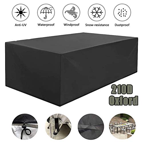 Waterproof Outdoor Patio Furniture Covers Rectangular, Garden Furniture Set Covers 210D Oxford Fabric, Dustproof Outdoor Table Covers, for Outdoor Table and Chairs, 213X132x74cm