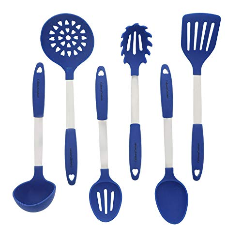 Blue Kitchen Utensil Set - Stainless Steel & Silicone Heat Resistant Professional Cooking Tools - Spatula, Mixing & Slotted Spoon, Ladle, Pasta Fork Server, Drainer - Bonus Ebook