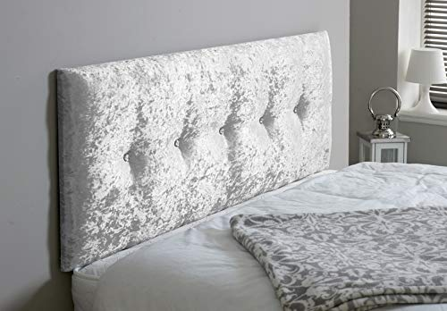 Madrid - Cabecero hecho a mano para cama diván dormitorio decoración de muebles de terciopelo arrugado, Blanco, Small Double 4 FEET, Height 24 INCHES