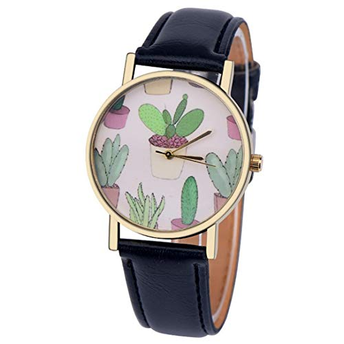 Wensltd Women Classy Cactus Pattern Plant Leather Band Analog Quartz Vogue Wrist Watch (Black)