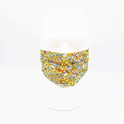 Waschbare Mundmaske aus 100% Baumwollgewebe - Gelbe Blumen - Dreifache Dicke