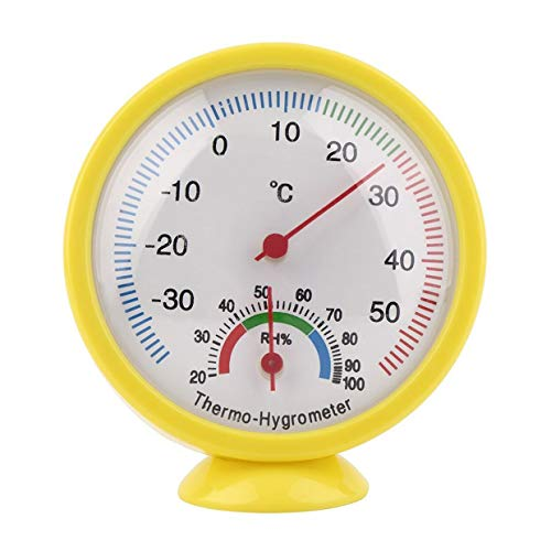 MXECO Mini Yellow Praktisches mechanisches Thermometer für den Innen- und Außenbereich Hygrometer Termometro Temperatur Feuchtigkeitsmesser Wettermonitor (gelb)