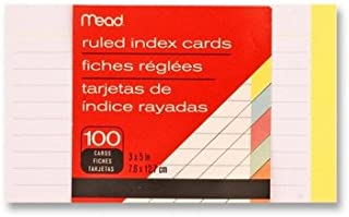 """Index Cards, Ruled, 3""""x5"""", 100 Count, Assorted [Set of 4]"""