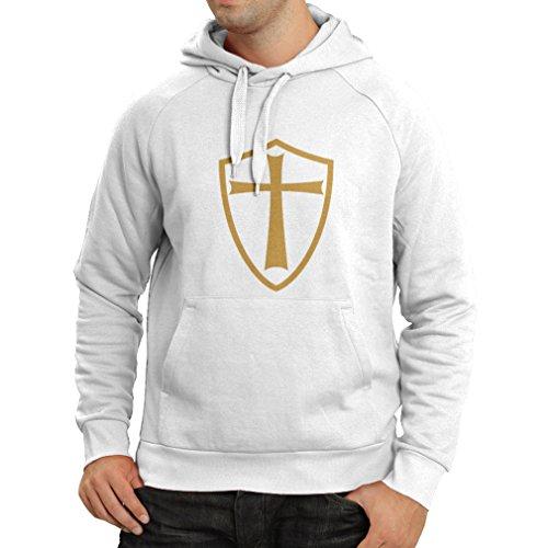 lepni.me Sudadera con Capucha Caballeros Templarios - Escudo de los Templarios (X-Large Blanco Oro)