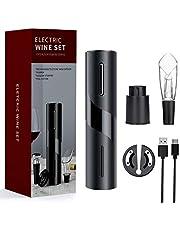 Mfshiye Elektrische kurkentrekker, 6 seconden automatische flesopener, draadloze wijnflesopener, set met wijnfoliesnijder & vacuüm stopper & geleverd USB-oplaadkabel (stijl 2)