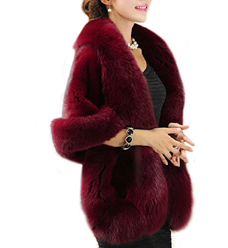 Amore Bridal Women's Luxury Faux Fur Shawl Wrap Stole Cape for Winter, Burgundy, One Size