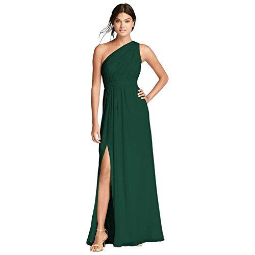 David's Bridal Long One-Shoulder Crinkle Chiffon Bridesmaid Dress Style F18055, Juniper, 26