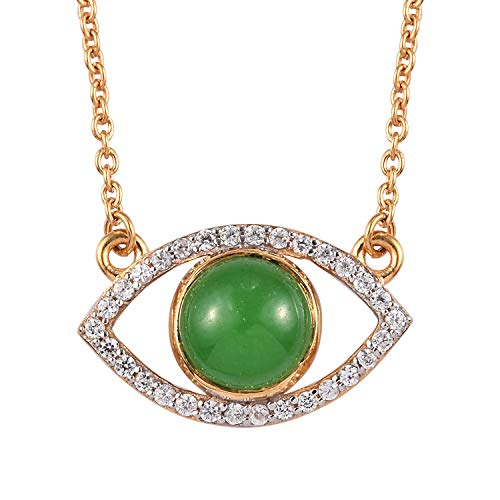 TJC Green Jade and White Zircon Evil-Eye Necklace for Women in 14ct Gold Plated 925 Sterling Silver Size 18 Inches, TCW 2.89ct
