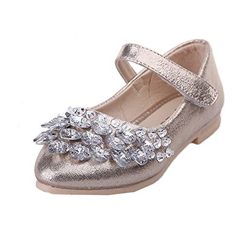 Zapatos de Princesa para niñas cómodos Informales Suela Suave Diamantes de imitación Zapatos de Cuero para niños Banquete de Boda Mary Jane Flats