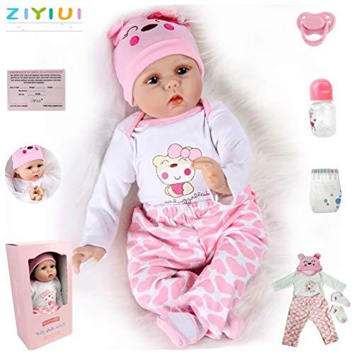 ZIYIUI Realtà Bambole Reborn neonatale Vinile in Silicone Morbido 55 cm 22 Pollici Bambolina Reborn Doll Simulazione Bello Ragazza Regalo di Natale Giocattolo Magnetico
