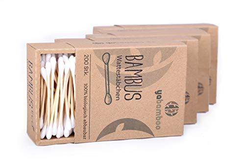 yabamboo Bambus Wattestäbchen 4er Pack (800 Stück) l 100% biologisch abbaubar, nachhaltig & vegan I kompostierbar I ohne Plastik