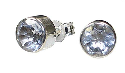 Bergkristall Ohrstecker facettiert 5 mm in 925er Silberfassung, Edelsteinohrringe Bergkristall
