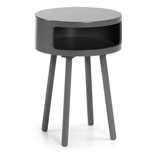Kave Home - Table d'appoint Kurb Gris Ronde Ø 46 cm avec Pieds en Bois Massif en Caoutchouc et étagère intérieurer