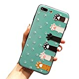 Iphone 7 plus case iphone 8 plus Cover Case Super Cute Cartoon Animal Pattern Soft TPU Bumper Hard PC Back Cover For Girls 360 Degree Protection (cat hands-green-7 plus)