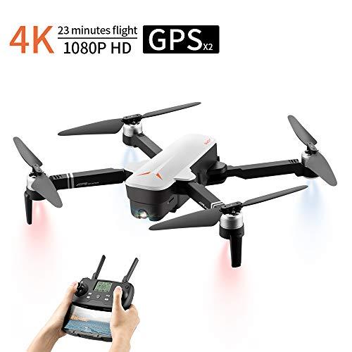 Drone Con Telecamera, Droni Professionali Con Telecamera 4K, Dual GPS Drone FPV 1080P, 120 ° Grandangolo Regolabile, Motore Brushless&23 minuti di volo&Funzione Seguimi, droni non andranno mai persi