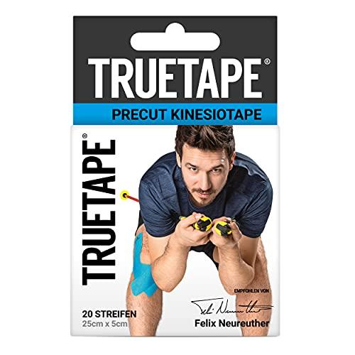 TRUETAPE® Kinesiotapes I vorgeschnitten | wasserfestes & elastisches Kinesiologie Tape | 20 Precut-Streifen á 25cm x 5cm | hautfreundlich & extra starker Halt | Blau